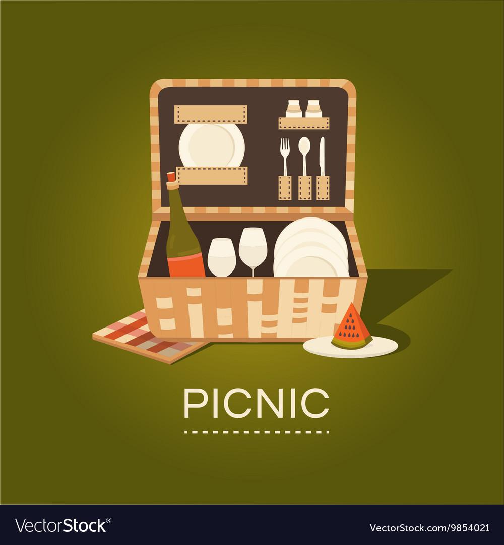 A picnic basket vector image