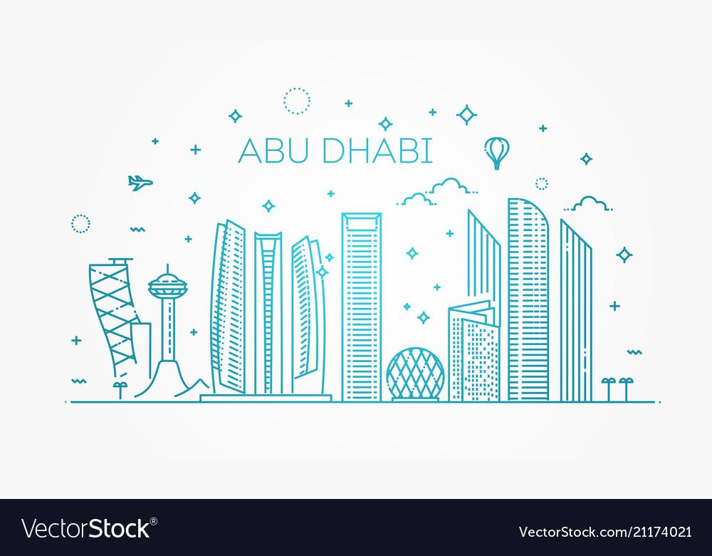 Abu dhabi city line art with
