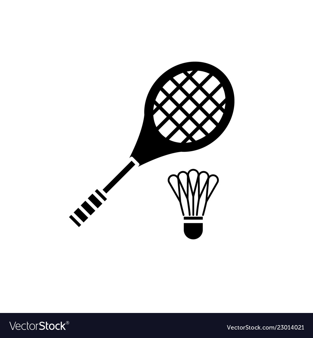 Badminton racket black icon sign on