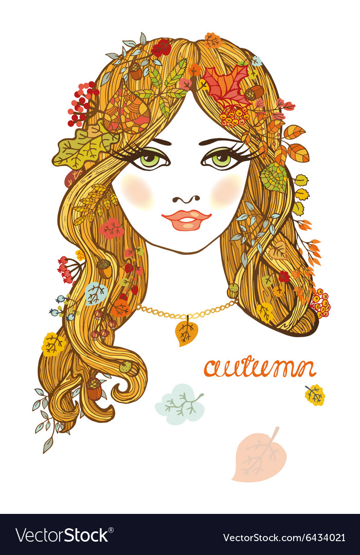 Beautiful girl with autumn leavesColor portrait