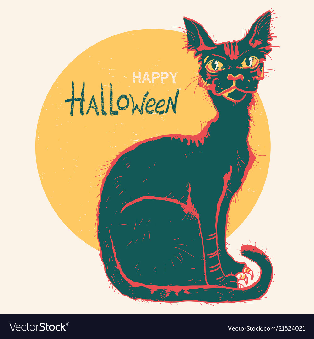 Black cat and big moon hand drawn color halloween