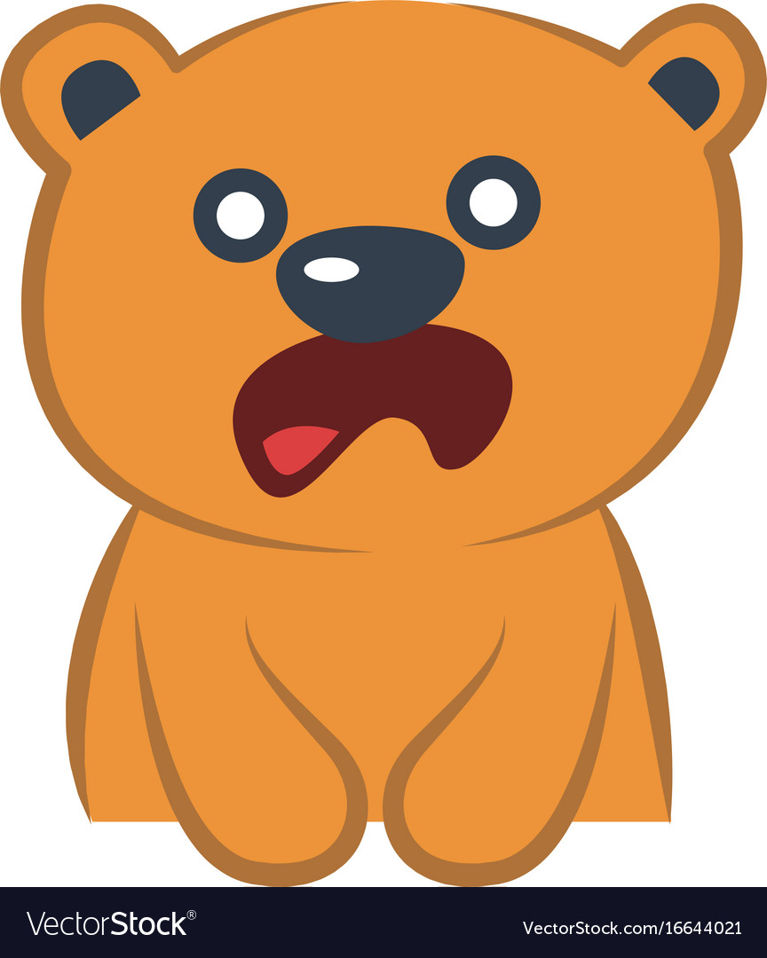 Cute bear astonished vector image