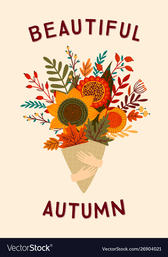 Cute with autumn bouquet