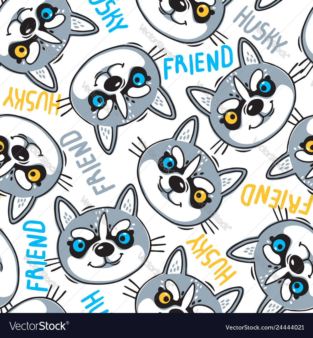 Fashionable seamless pattern with dogs husky noses
