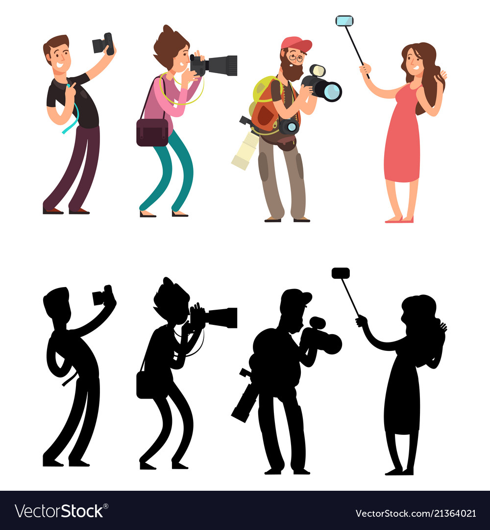 Funny professional photographer with camera photo