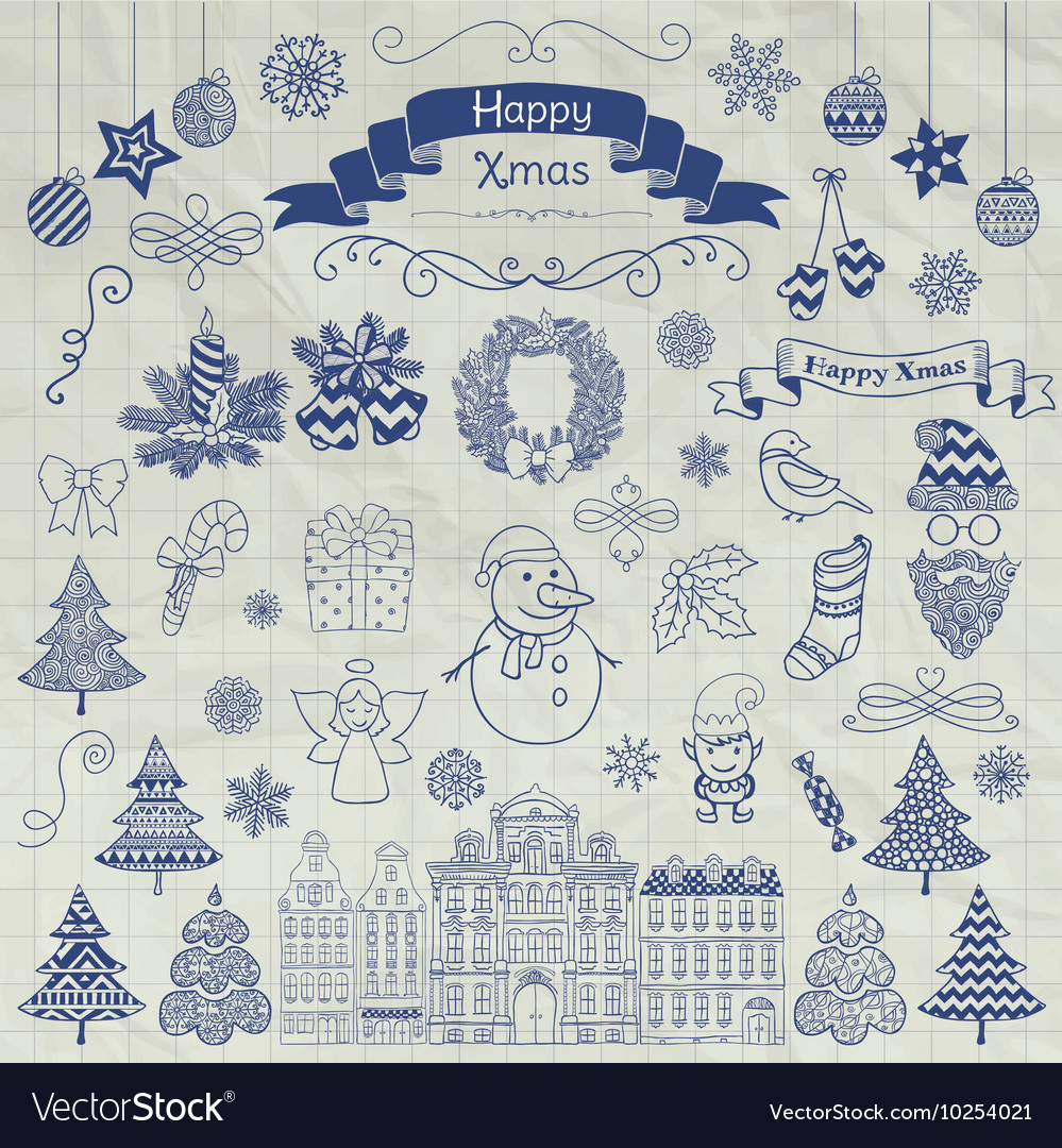 Hand Drawn Christmas Doodle Icons on Notebook