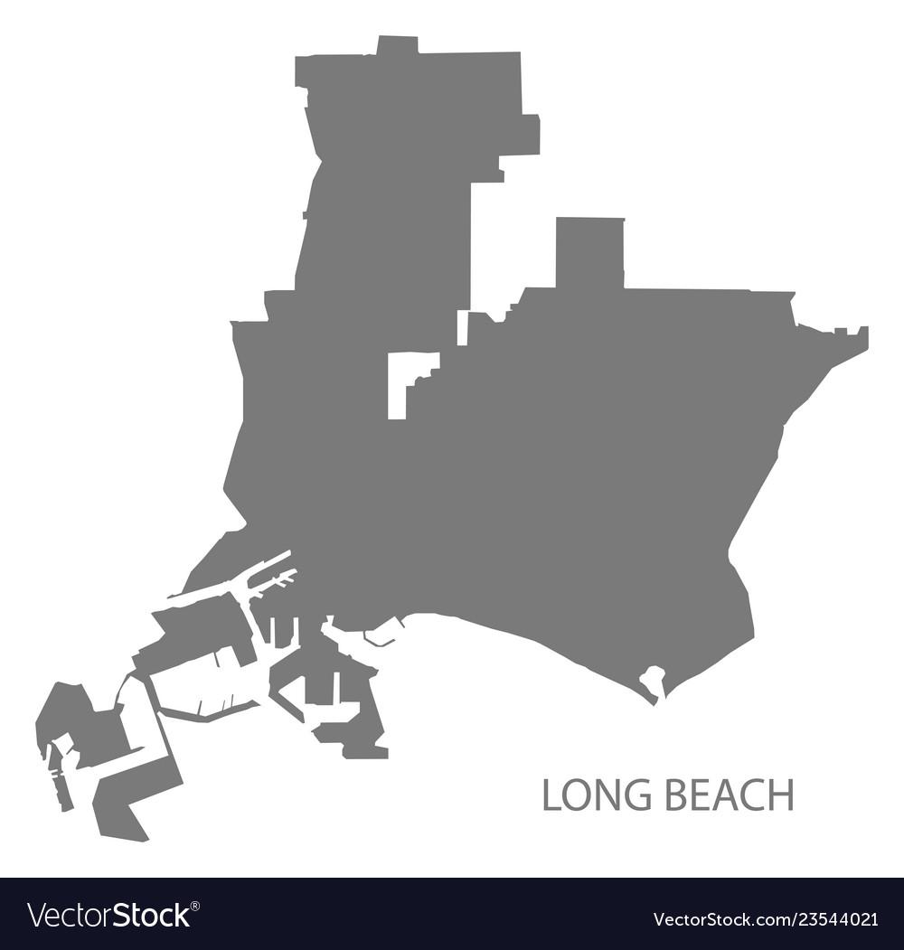 Long beach california city map grey silhouette Vector Image