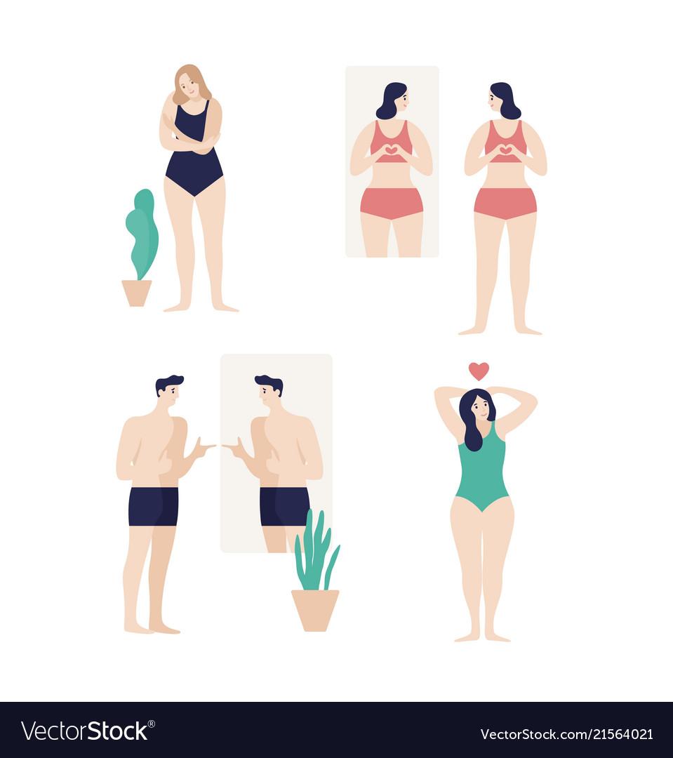 Men and women dressed in underwear looking in
