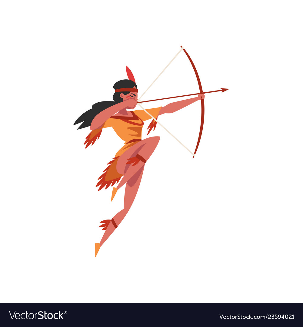 Native american indian girl shooting a bow young