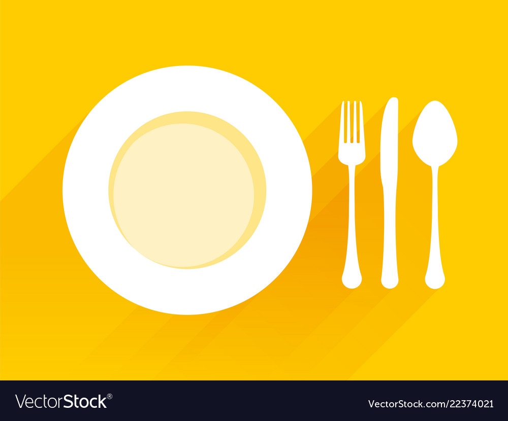 Plate with spoon knife fork on a yellow background