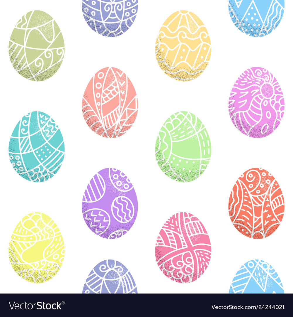 Seamless pattern easter eggs with hand drawn