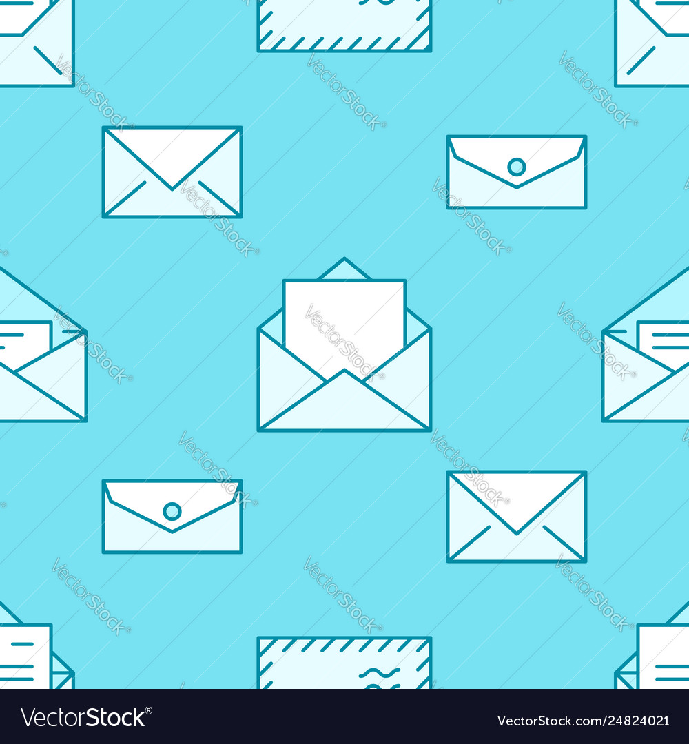 Seamless pattern with envelopes flat line icons