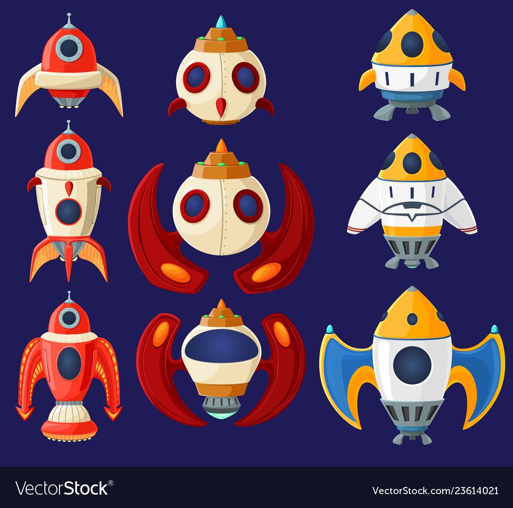 Set cartoon spaceships and rockets