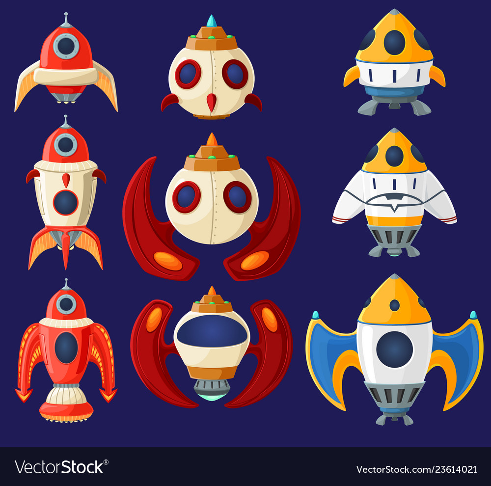Set of cartoon spaceships and rockets