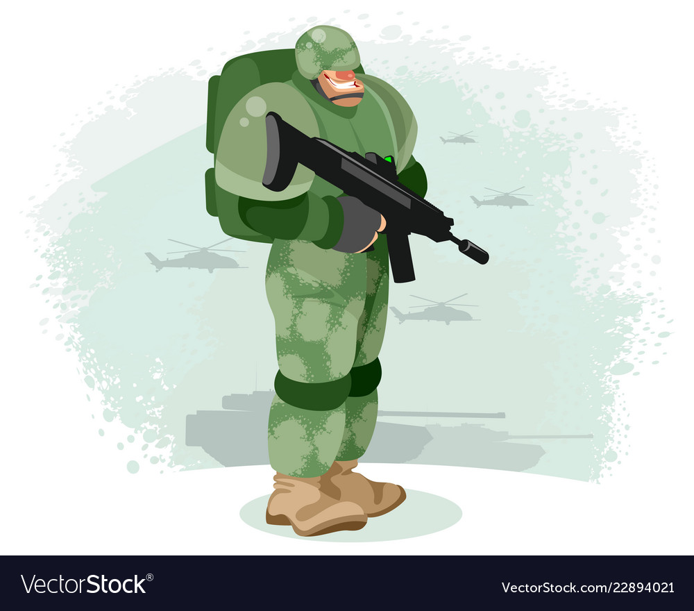 Soldier with a gun vector image