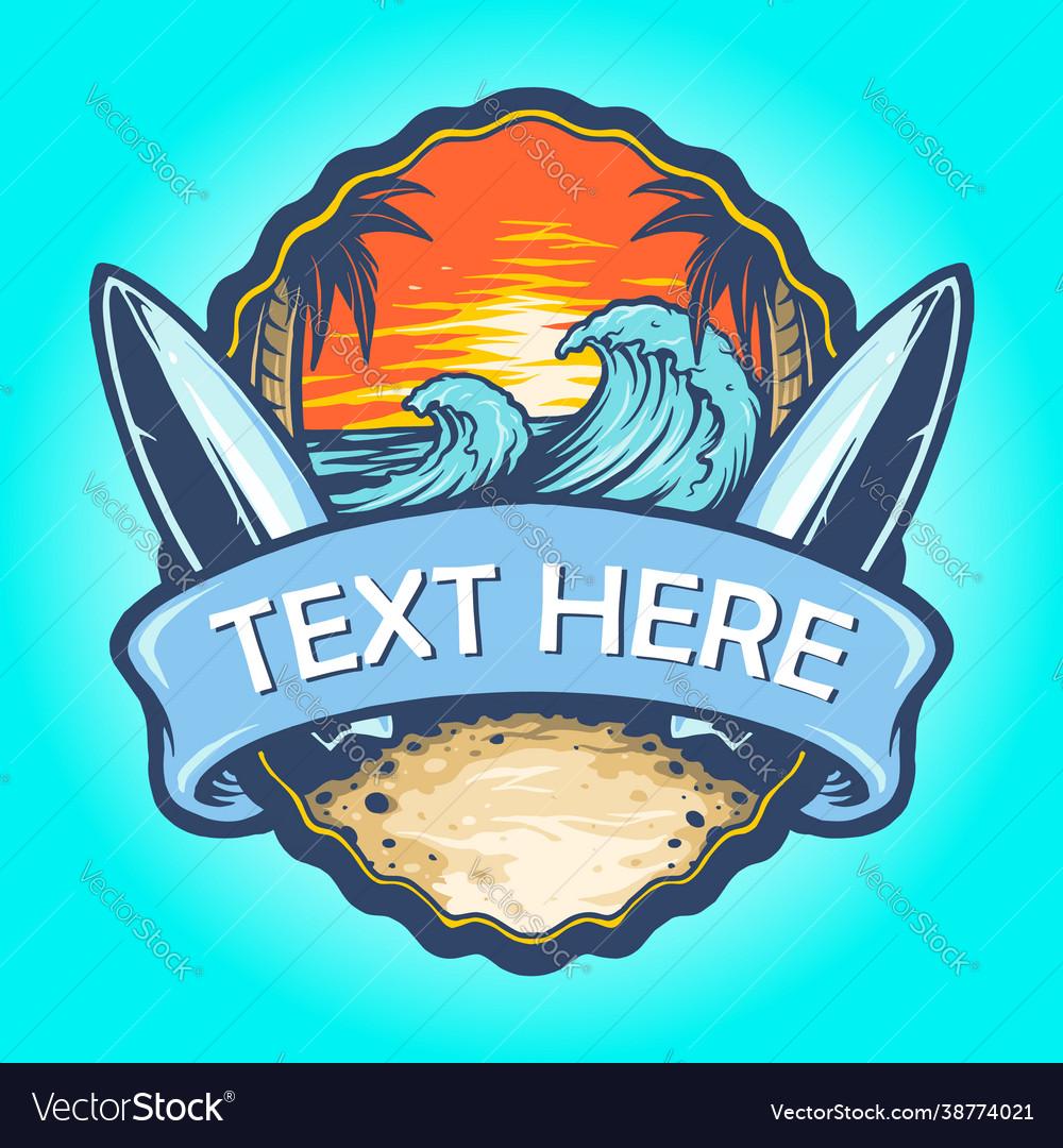 Surf board logo landscape vintage