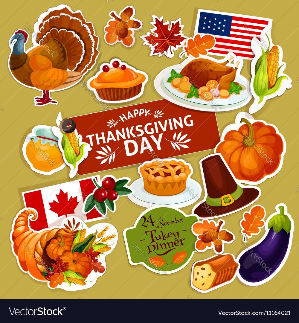 Thanksgiving symbols decoration stickers set
