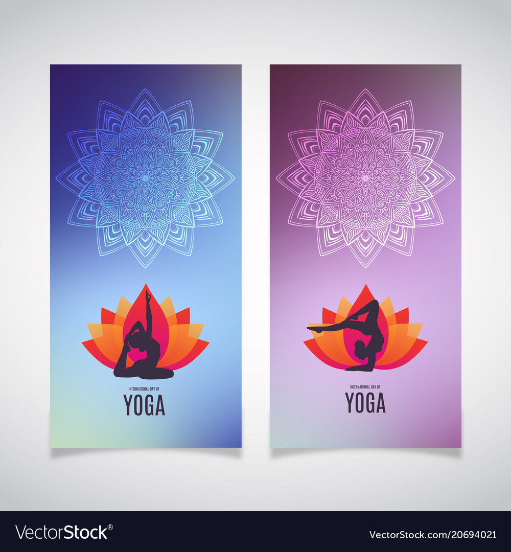 Yoga Banner Collection Ethnic Ornament And Human Vector Image