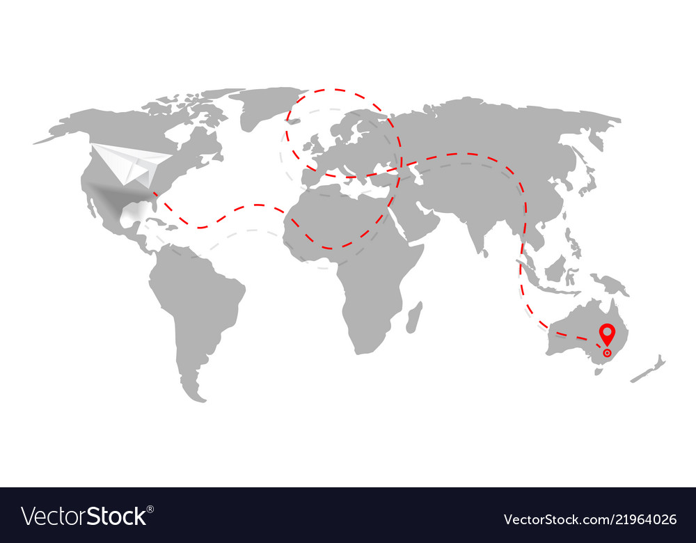 Airplane path in dashed line shape on world map