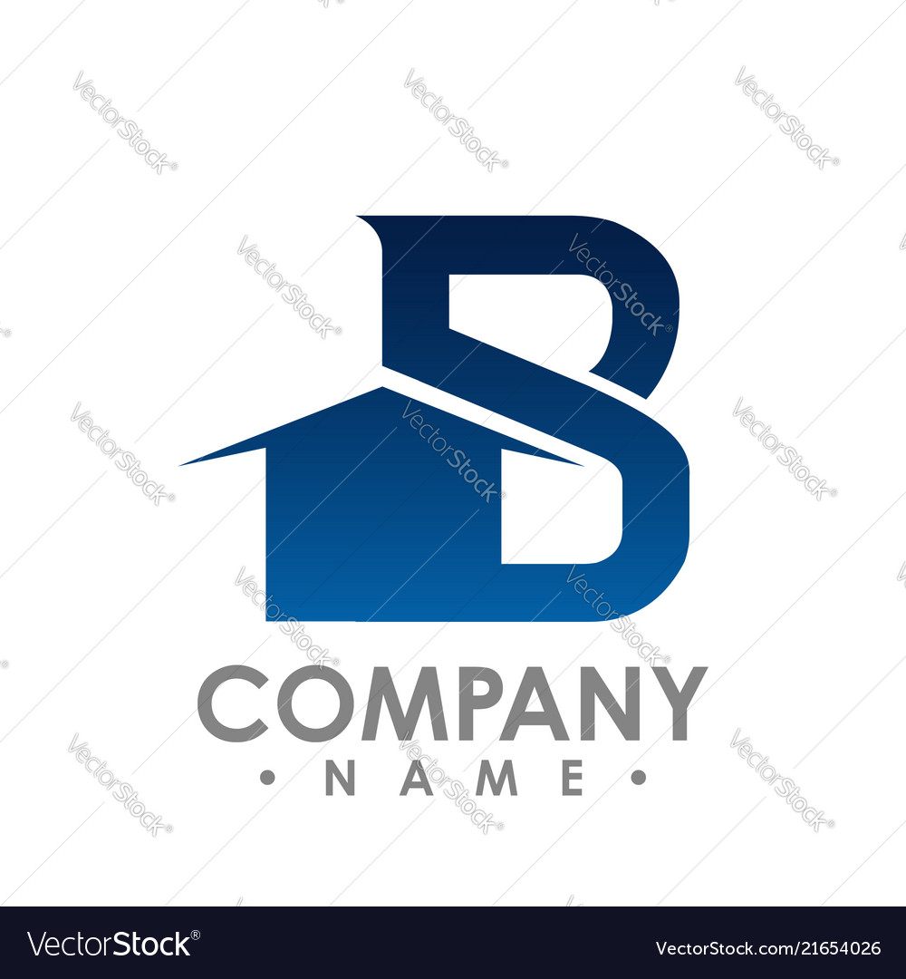 B initial letter realty logo design lettering