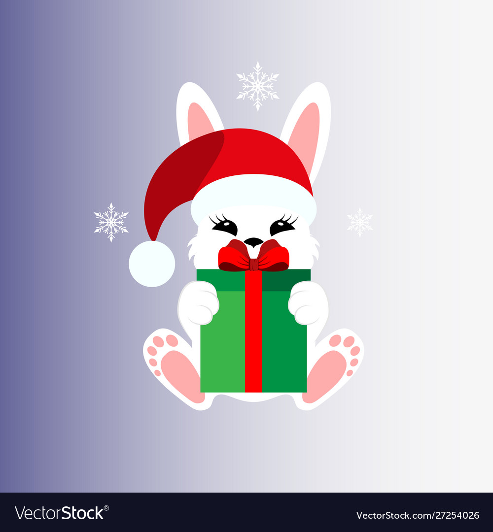 Bunny with a gift in a christmas cap icon stiker