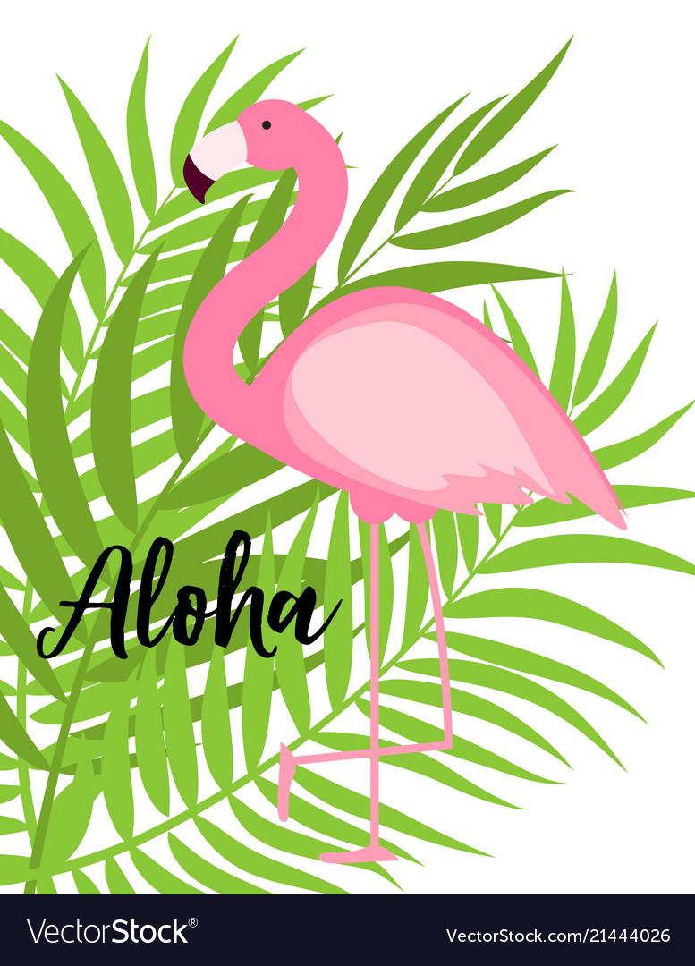 Cute pink flamingo summer background