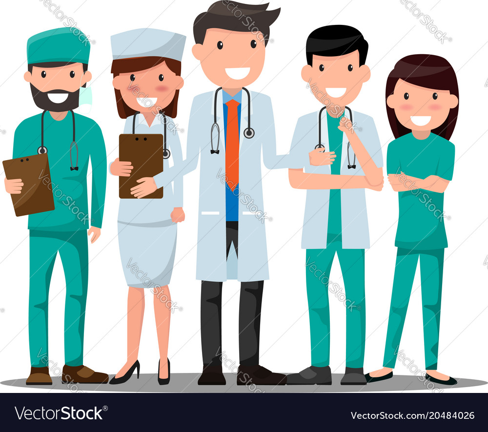 Doctor and nurse medical set in various pose for
