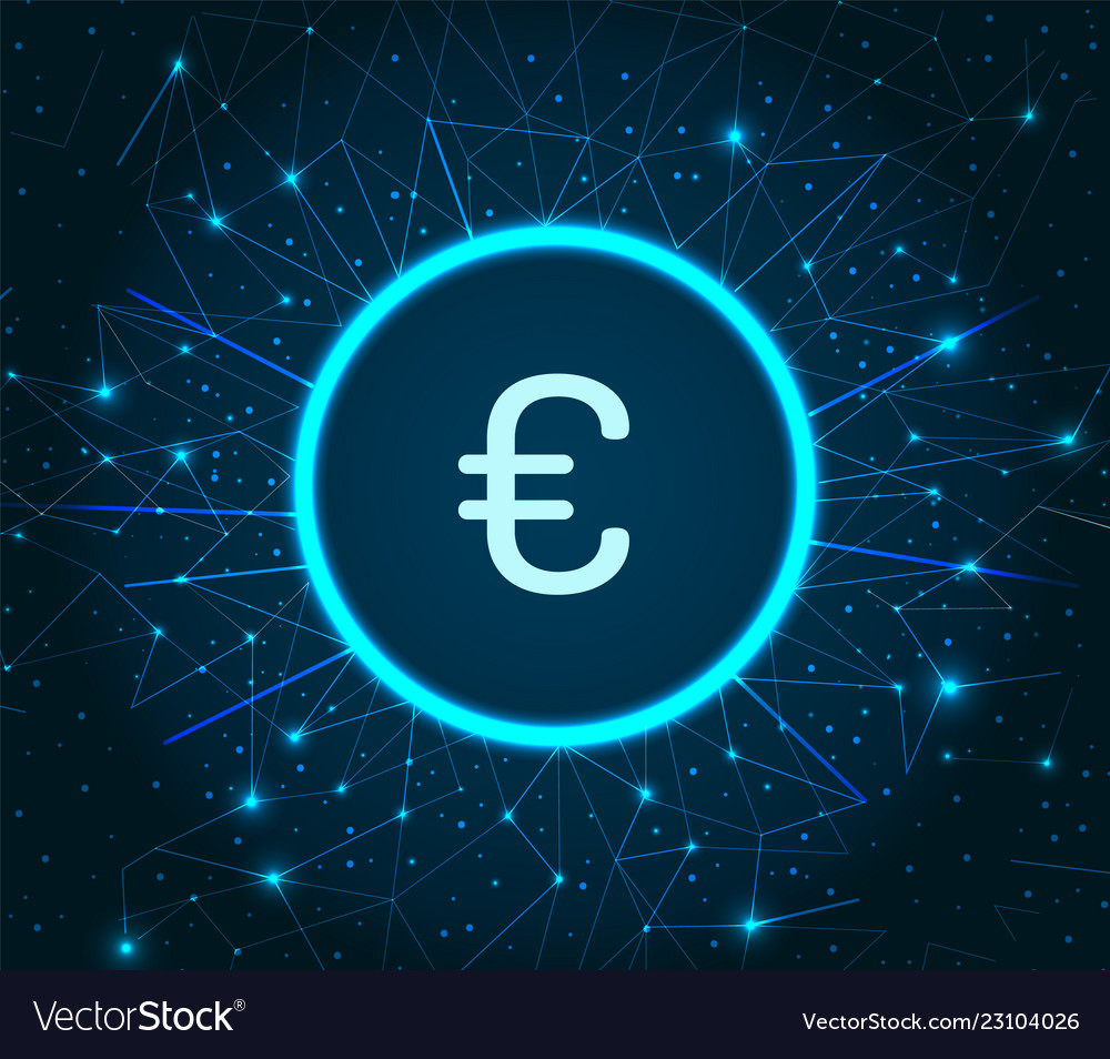 Euro currency logo digital financing icon
