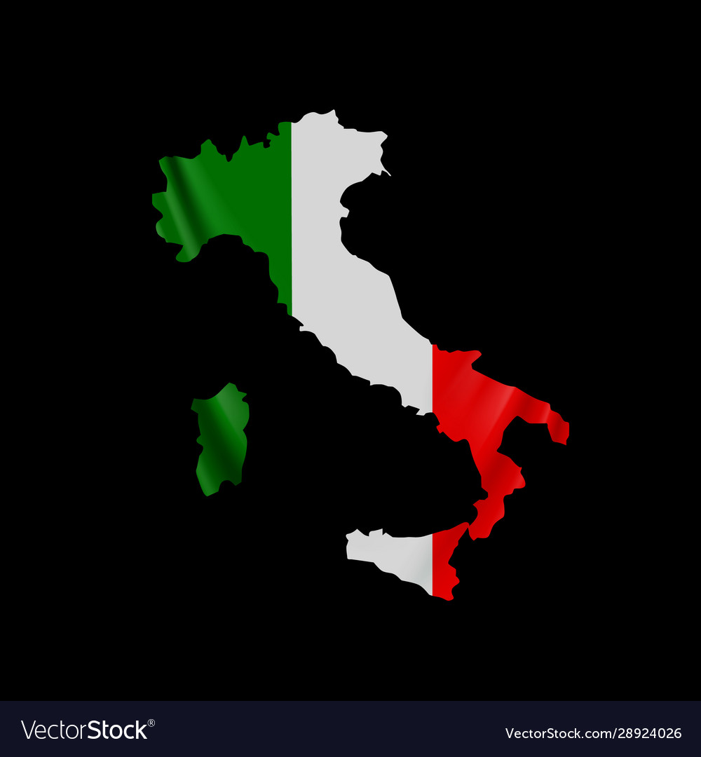 Hanging italy flag in form map italian
