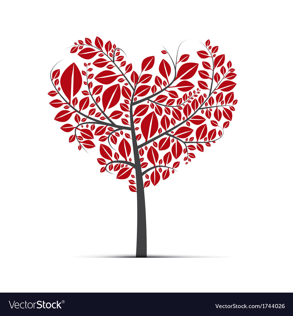 Heart Shaped Tree With Green Leaves Royalty Free Vector