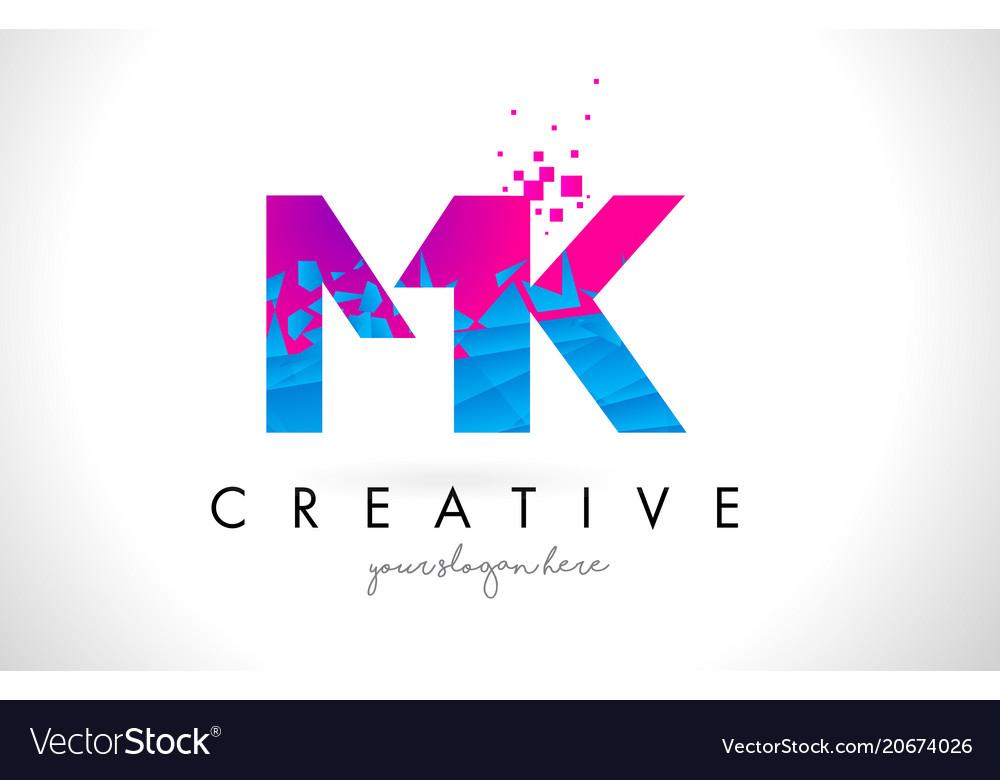 Mk m k letter logo with shattered broken blue