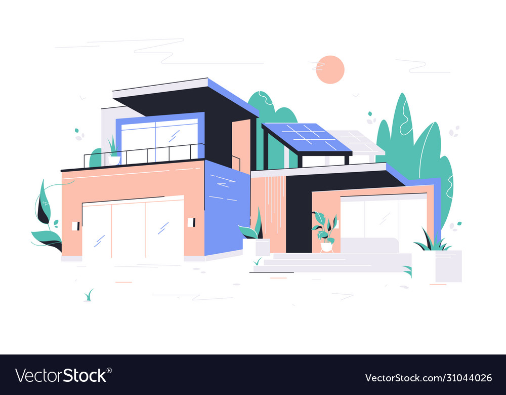 Modern big house with garage balcony and roof