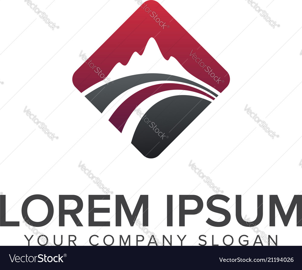 Mountain road logo design concept template