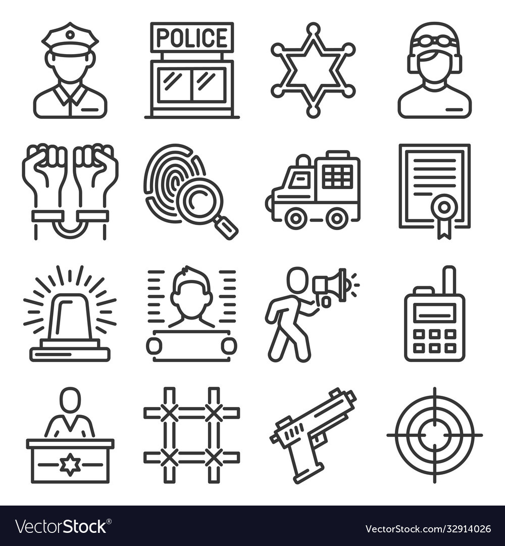Police an doliceman icons set on white background