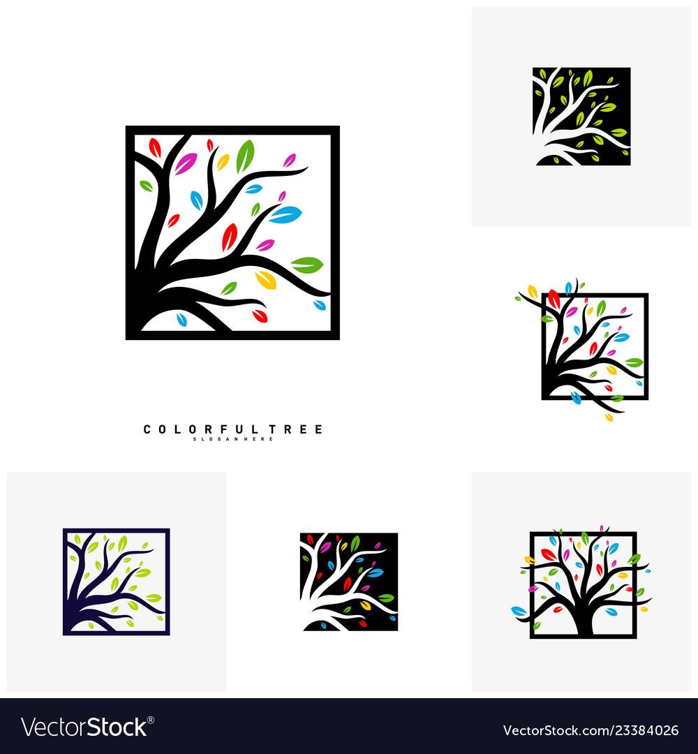Set of colorful tree logo design template luxury