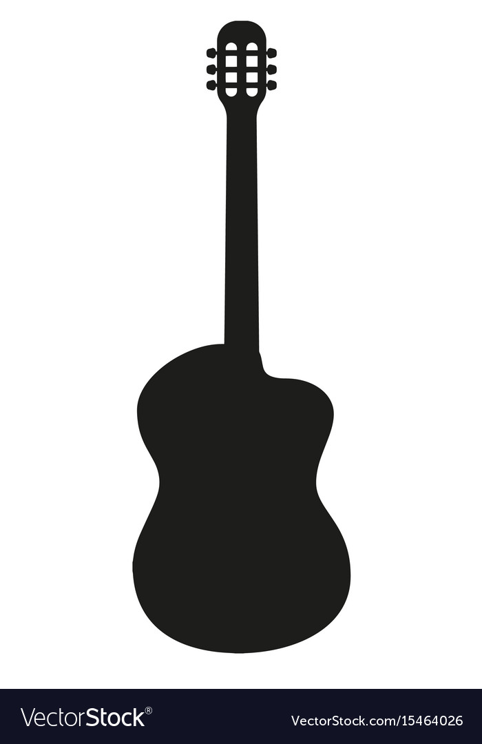 silhouette of classical acoustic guitar royalty free vector rh vectorstock com acoustic guitar vector art acoustic guitar vector free download