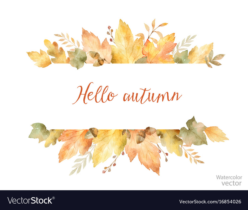Watercolor autumn banner of leaves and