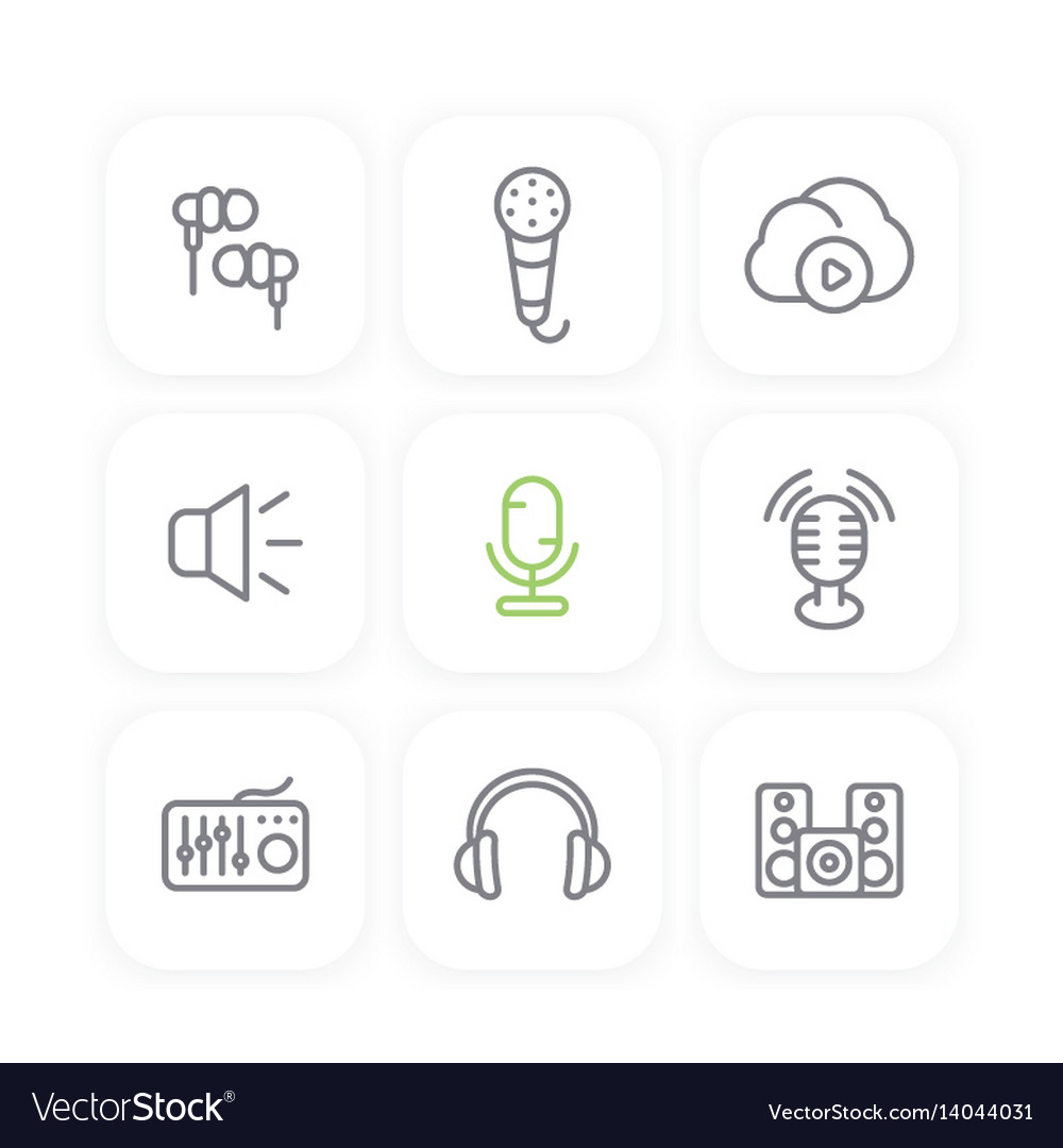 Audio line icons set sound mixer earbuds vector image