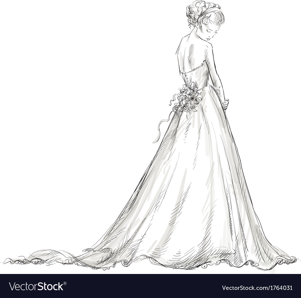 Bride beautiful young girl in a wedding dress vector image junglespirit Image collections