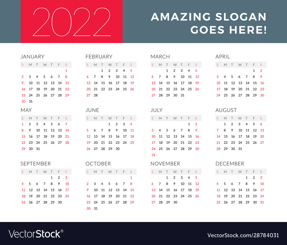 2022 19 Calendar.Calendar For 2022 Year Week Starts On Sunday Vector Image