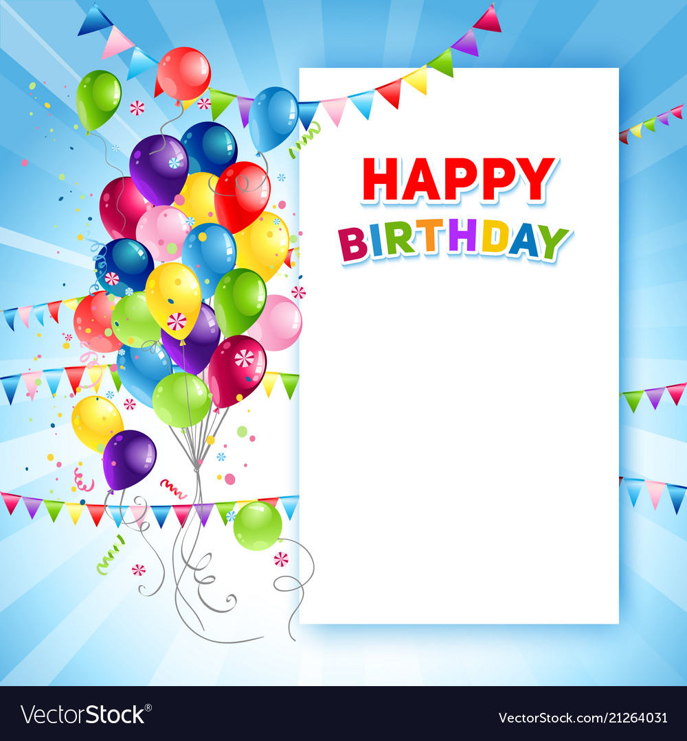 Festive happy birthday card template Royalty Free Vector