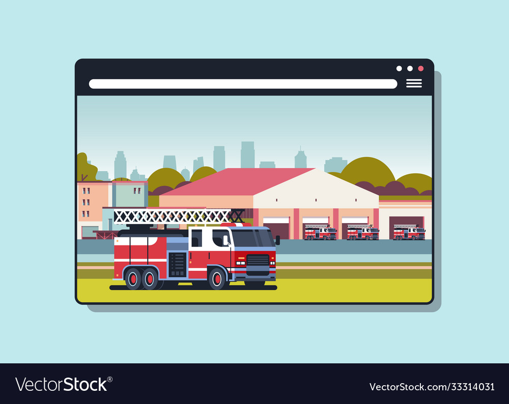Firefighter truck near building fire station