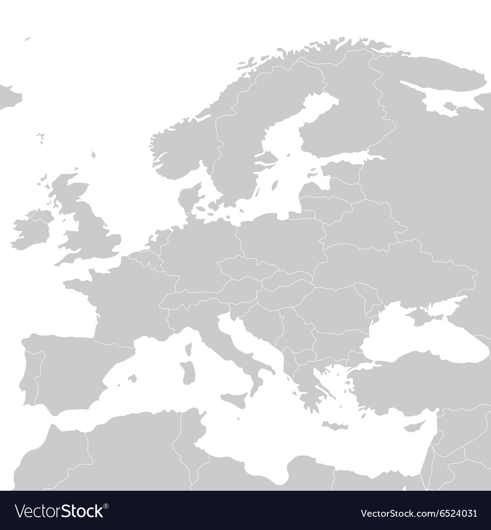 Grey political map of Europe Royalty Free Vector Image