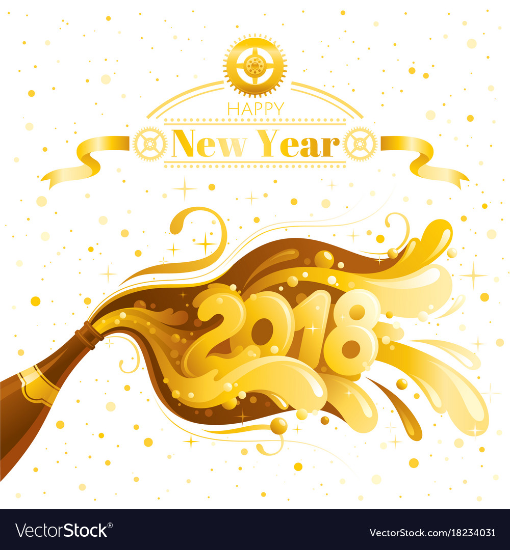 Happy New Year 2018 Banner Clock Dial Vector Image