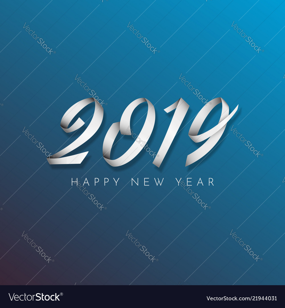 Inscription happy new year 2019 on blue background