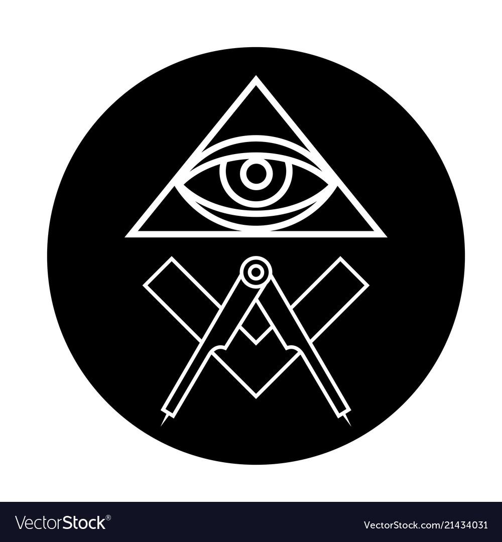 Masonic Eye Symbol In Black Circle All Seeing Vector Image