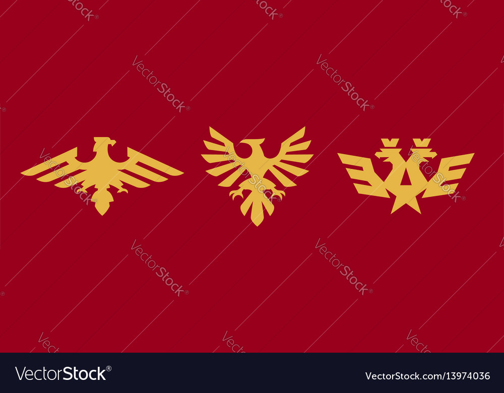A set of logos heraldry eagle bird wings