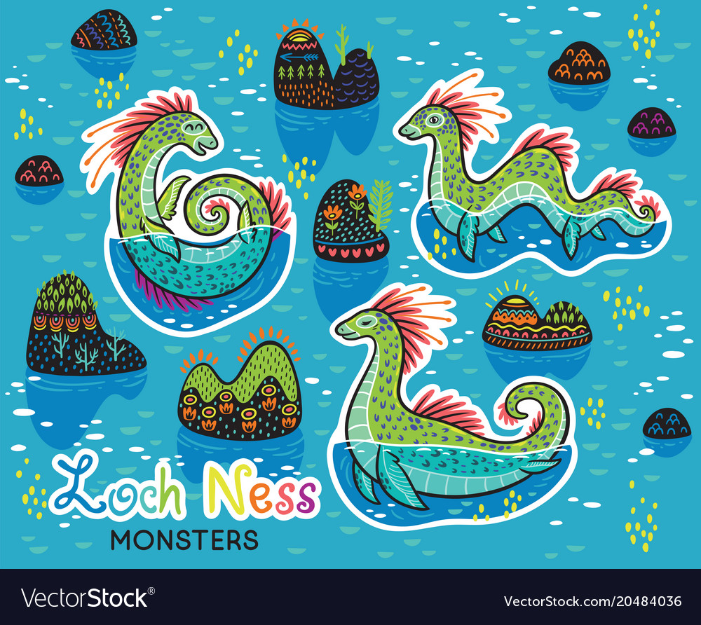 Animals patch collection of loch ness monsters in