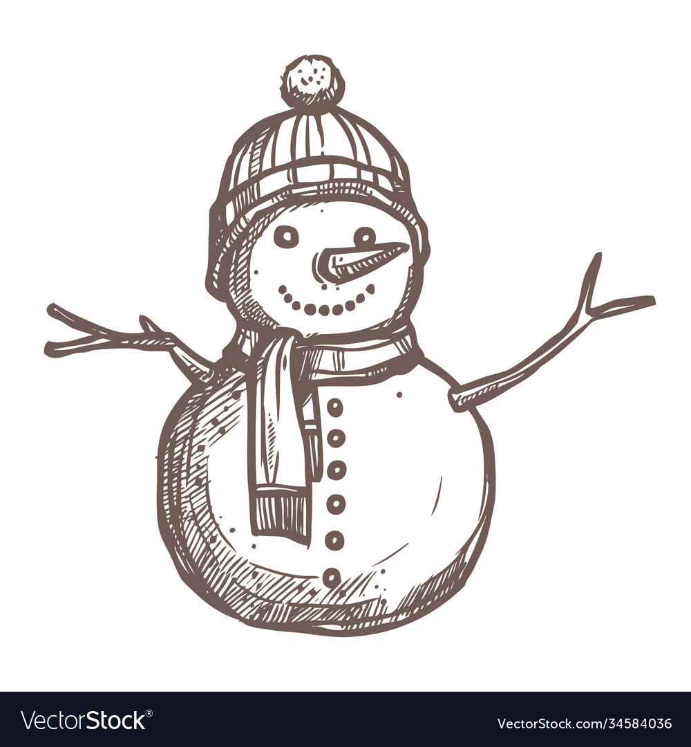 Christmas card with sketch snowman