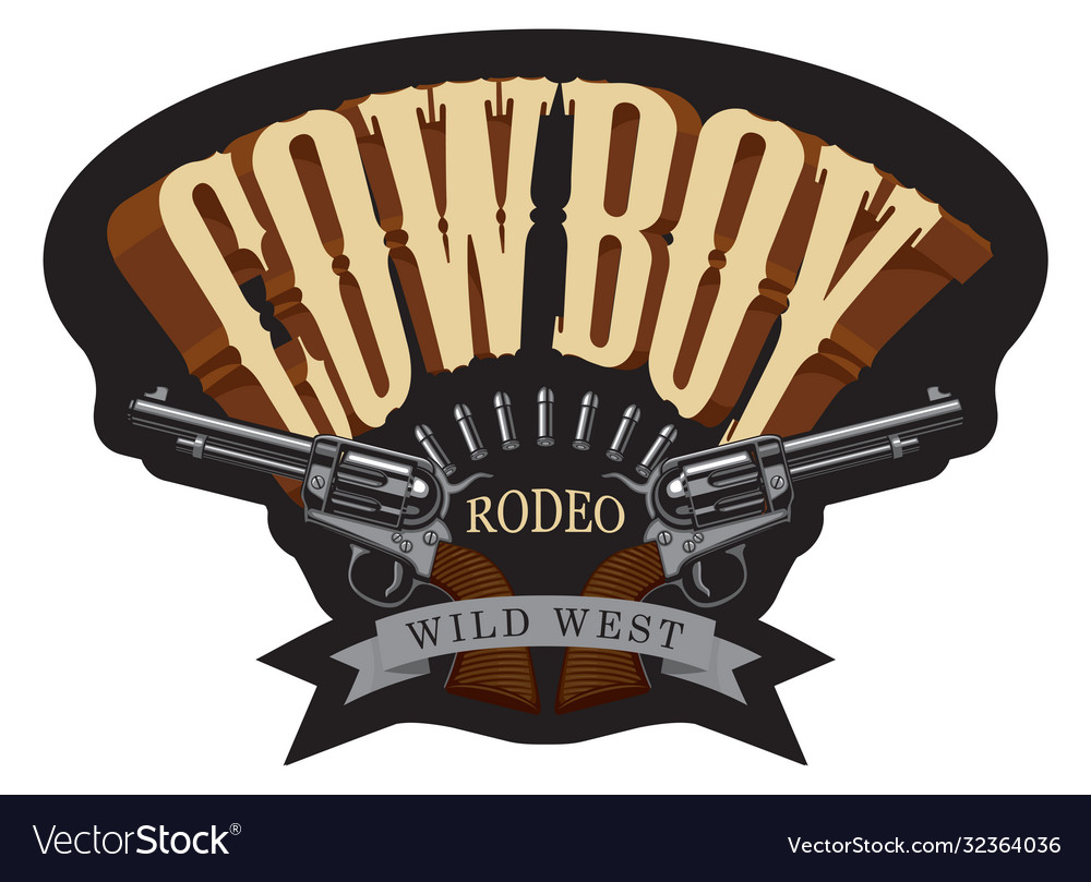 Cowboy emblem with two old revolvers and bullets